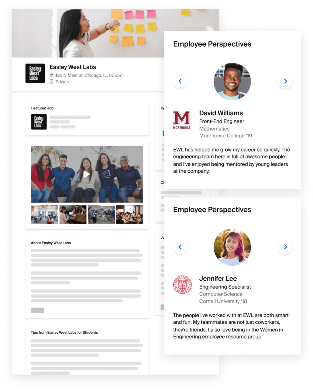 Employer pages on Handshake feature jobs, rich video and photos highlighting company culture, and employee testimonials from real students and recent graduates.