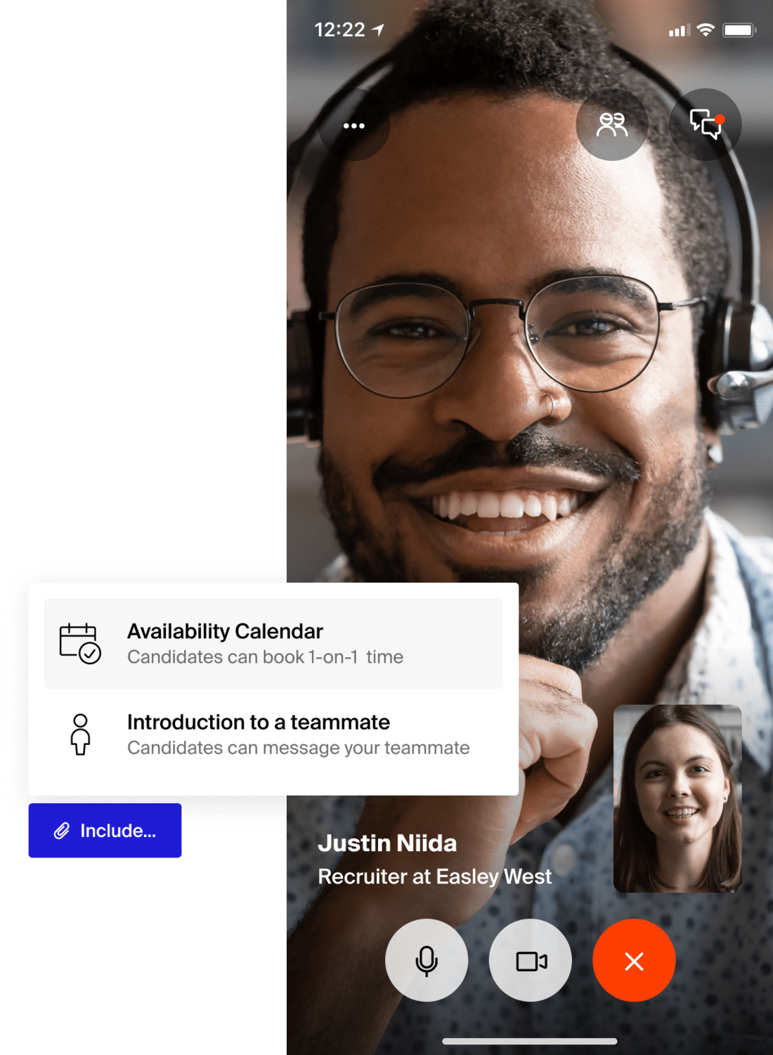 Recruiters can easily send candidates their calendar availability on Handshake to book virtual info chats and one-on-one time to speak about open jobs and internships at their company.