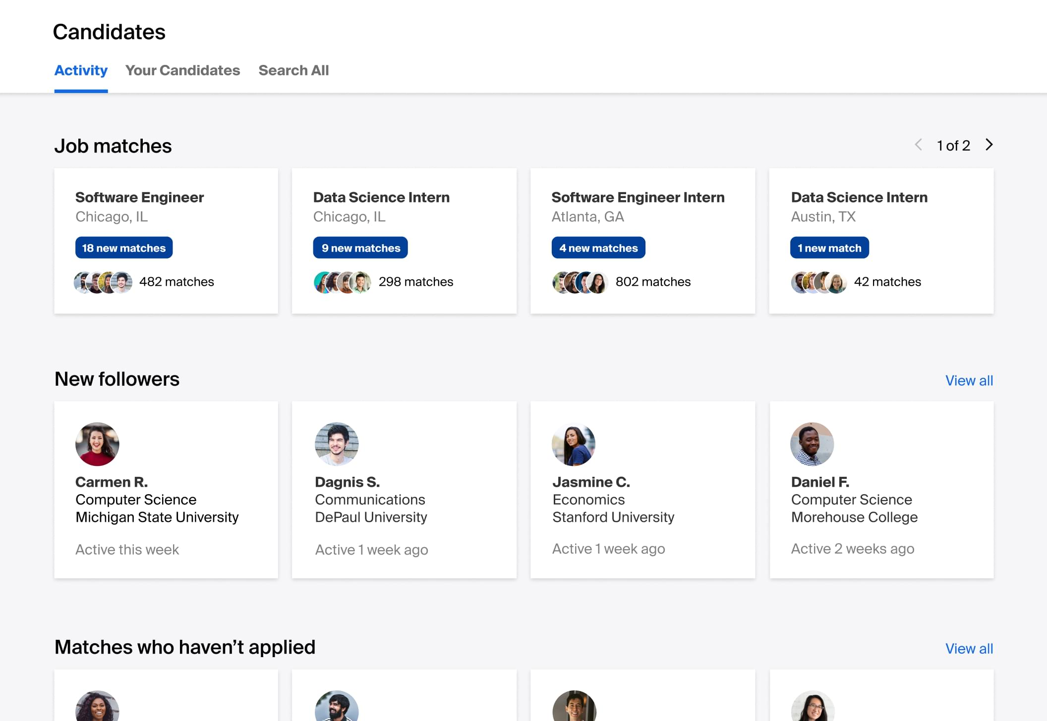 Get proactive talent matches based on your hiring needs